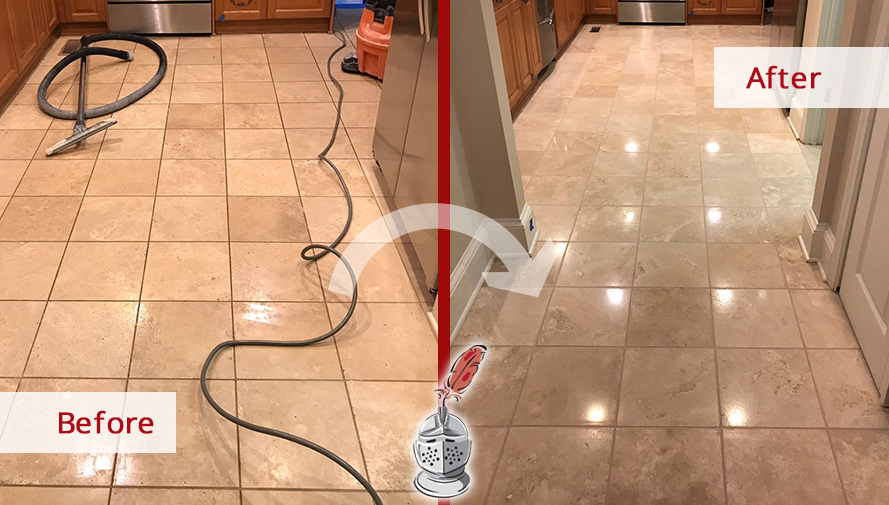 Before and After Picture of a Floor Stone Cleaning Service in Charlotte, NC