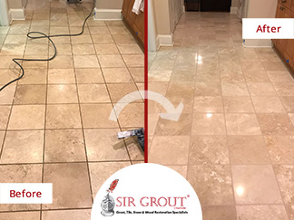 Before and After Picture of a Stone Cleaning Service in Charlotte, NC