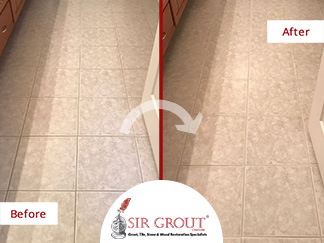Before and After Picture of a Bathroom Tile and Grout Cleaners in Charlotte, NC