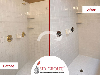 Before and After Picture of a Bathroom Grout Cleaning Service in Charlotte, North Carolina