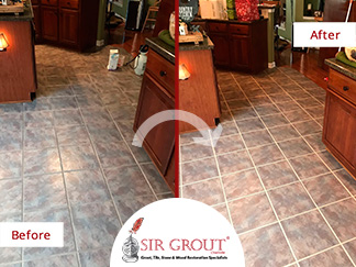 Before and After Picture of a Tile Floor Grout Sealing in Charlotte, North Carolina