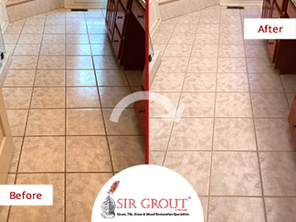 Before and After Picture of a Bathroom Grout Sealing in Charlotte, North Carolina