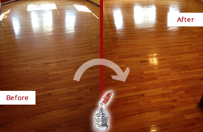 Before and After Picture of a Worn Wood Floor Restoration Service
