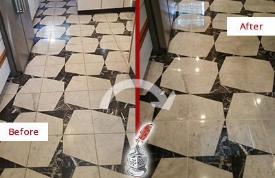 Before and After Picture of a Dull Cornelius Marble Stone Floor Polished To Recover Its Luster