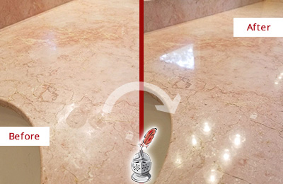 Before and After Picture of a Bluffton Marble Stone Vanity Top Sealed to Avoid Water Marks