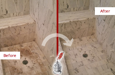 Before and After Picture of a Monroe Marble Shower Honed to Remove Dark Stains