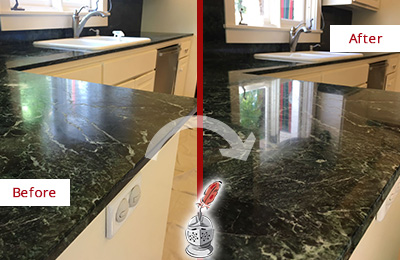 Before and After Picture of a Monroe Marble Kitchen Countertop Honed to Remove Water Marks