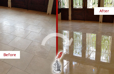 Before and After Picture of a Mooresville Hard Surface Restoration Service on a Dull Travertine Floor Polished to Recover Its Splendor