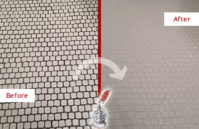 Before and After Picture of a Mooresville Hard Surface Restoration Service on a Bathroom Tile Floor Recolored to Fix Grout Color