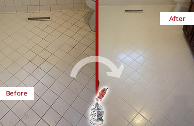 Before and After Picture of a Hilton Head Island White Bathroom Floor Grout Sealed for Extra Protection