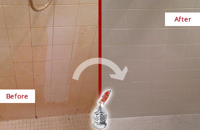 Before and After Picture of a Weddington Porcelaine Shower Cleaned to Remove Soap Scum