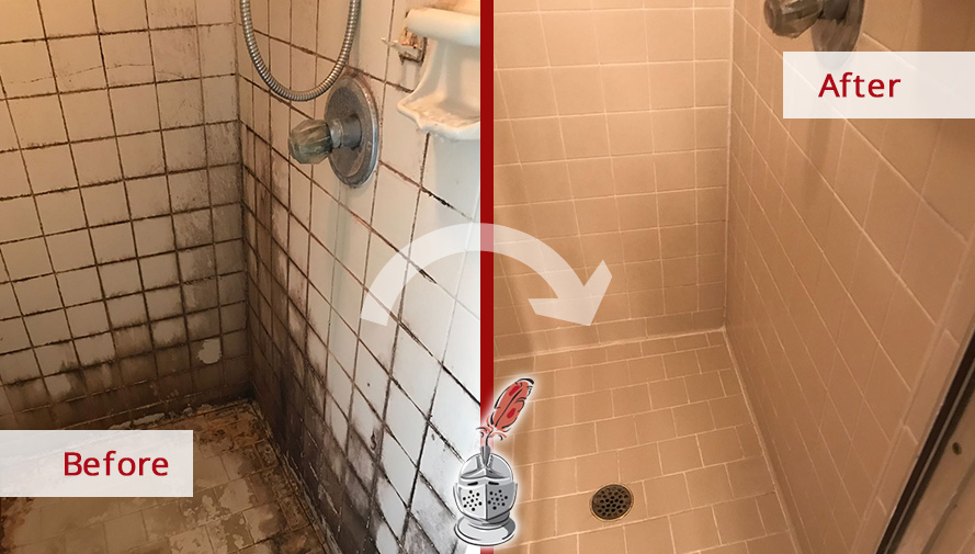 Before and After Picture of a Tile Cleaning Service in Matthews, NC