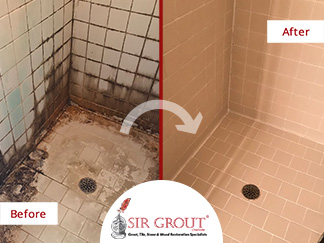 Before and After Picture of a Shower Tile Cleaning Service in Matthews, NC