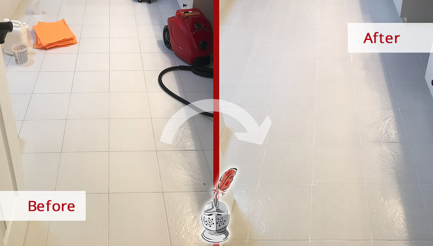 Before and After Picture of a Bathroom Floor Grout Cleaning Service in Charlotte, North Carolina