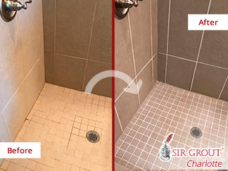Before and After Picture of a Shower Grout Sealing in Mooresville, North Carolina
