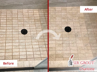 Before and After Picture of a Shower Floor Grout Sealing Service in Weddington, North Carolina