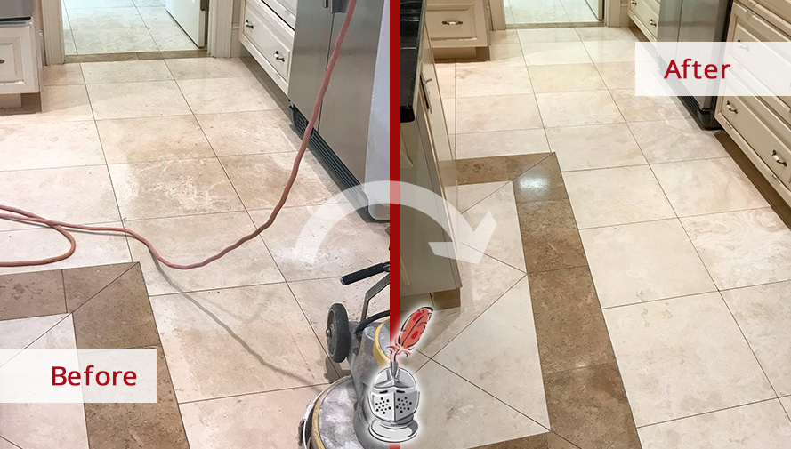 Before and After Picture of a Travertine Floor Stone Cleaning in Hilton Head Island, South Carolina