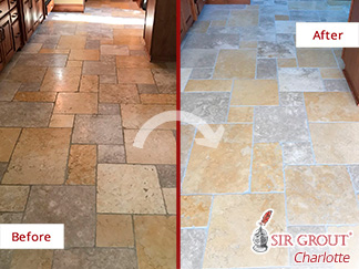 Before and After Picture of a Travertine Floor Stone Honing Service in Charlotte, North Carolina