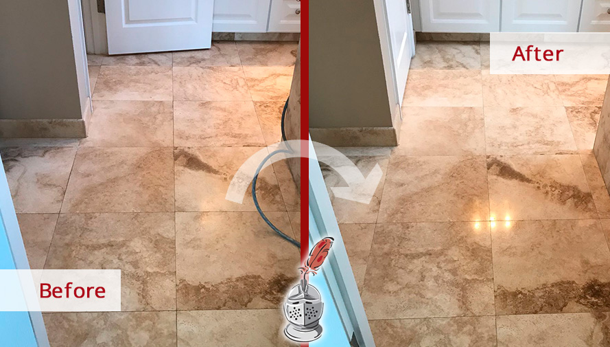 Before and After Picture of a Travertine Floor Stone Cleaning Service in Hilton Head Island, SC