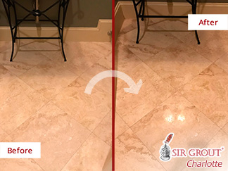 Before and After Picture of a Travertine Floor Stone Polishing Service in Hilton Head Island, SC