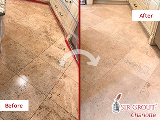 Before and After Picture of a Natural Floor Stone Cleaning Service in Charlotte, NC