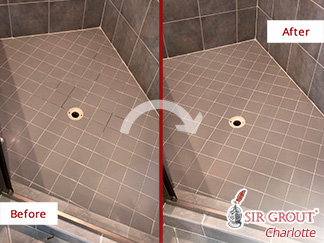 Before and After Picture of a Shower Grout Recoloring Service in Charlotte, NC