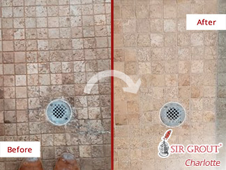 Stone Floor Before and After a Grout Cleaning Service in Charlotte, NC