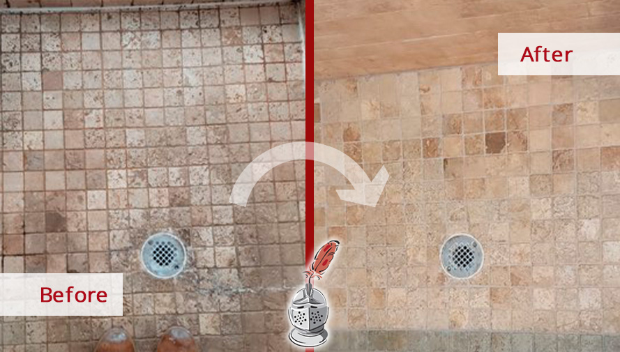 Before and After Picture of a Stone Floor After Grout Cleaning in Charlotte, NC