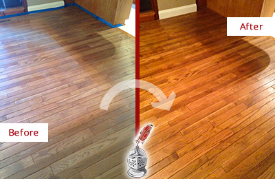 Before and After Picture of a Charlotte Wood Sand Free Refinishing Service on a Dull Floor to Recover Its Sheen