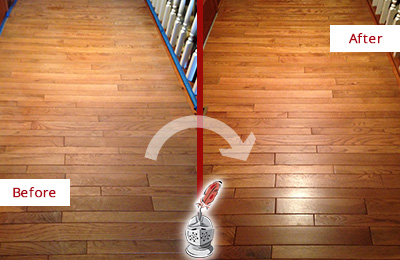 Before and After Picture of a Charlotte Wood Sand Free Refinishing Service on a Dull Hallway