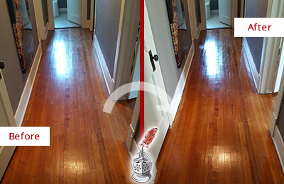 Before and After Picture of a Charlotte Wood Sand Free Refinishing Service on a Floor to Eliminate Scratches