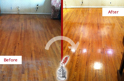 Before and After Picture of a Charlotte Wood Sand Free Refinishing Service on a Stained Floor