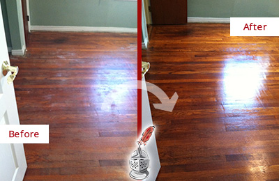 Before and After Picture of a Charlotte Wood Sand Free Refinishing Service on a Dull Floor to Remove Stains