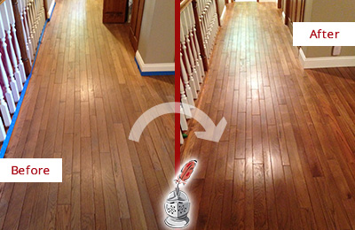 Before and After Picture of a Charlotte Wood Sand Free Refinishing Service on a Worn Out Floor