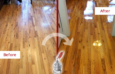 Before and After Picture of a Charlotte Wood Sand Free Refinishing Service on a Worn Out Hallway