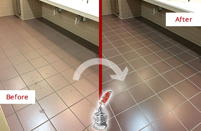 Before and After Picture of a Cornelius Restrooms Tile and Grout Cleaned to Remove Embedded Dirt