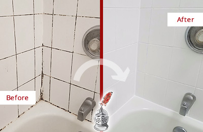 Before and After Picture of a Cornelius Shower Tile and Grout Cleaned to Eliminate Mold