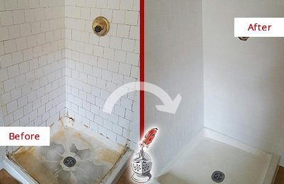 Before and After Picture of a Cornelius Shower Tile and Grout Cleaned to Remove Soap Scum