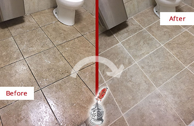 Before and After Picture of a Cornelius Restroom Tile and Grout Cleaned to Remove Soil