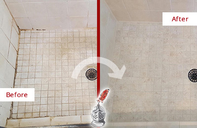 Before and After Picture of a Tega Cay Shower Caulked to Fix Cracks