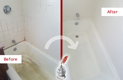 Before and After Picture of a Cornelius Bathtub Caulked to Repair Cracks
