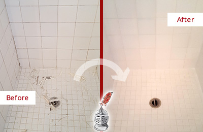 Before and After Picture of a Tega Cay Bathroom Re-Caulked To Repair Damaged Caulking