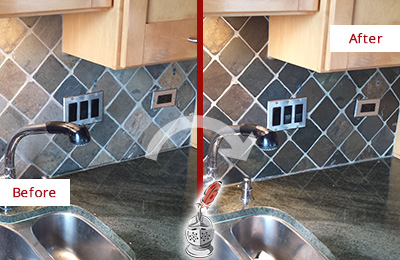 Before and After Picture of a Tega Cay Backsplash Caulked to Fix and Prevent Water Leaks