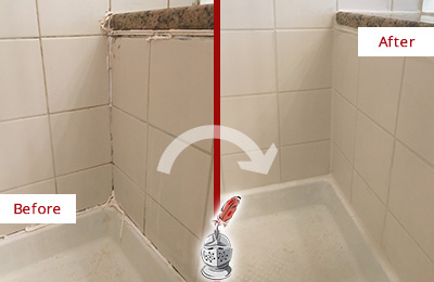 Before and After Picture of a Cornelius Shower Caulked to Repair Damaged Caulking