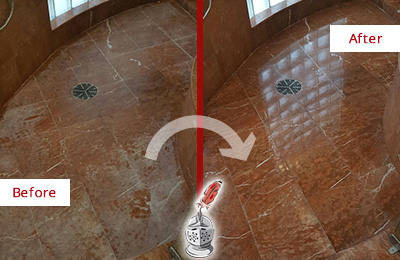 Before and After Picture of a Matthews Marble Stone Shower Polished to Eliminate Mineral Deposits