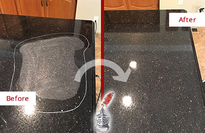 Before and After Picture of a Matthews Granite Stone Countertop Polished to Remove Scratches