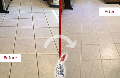 Before and After Picture of a Lake Wylie Kitchen Ceramic Floor Sealed to Protect From Dirt and Spills