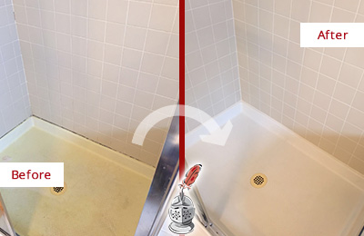 Before and After Picture of a Tega Cay Shower Sealed to Remove and Protect Against Mold