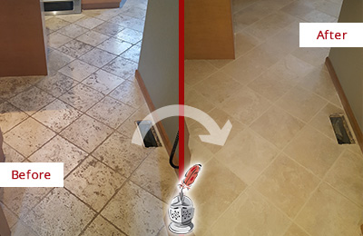 Before and After Picture of a Cornelius Kitchen Marble Floor Cleaned to Remove Embedded Dirt