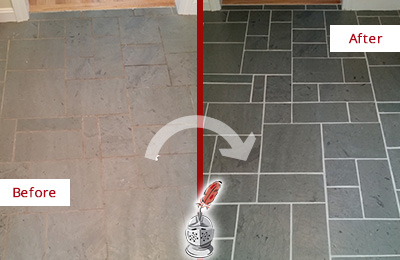 Before and After Picture of a Cornelius Slate Floor Cleaned to Remove Deep-Seated Dirt